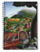 Wild Turkeys Appalachian Thanksgiving Landscape - Childhood Memories - Country Life - Americana Spiral Notebook