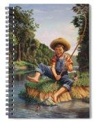 Boy Fishing In River Landscape - Childhood Memories - Flashback - Folkart - Nostalgic - Walt Curlee Spiral Notebook