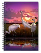 Whooping Cranes Tropical Florida Everglades Sunset Birds Landscape Scene Purple Pink Print Spiral Notebook
