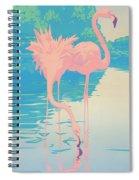 abstract Pink Flamingos retro pop art nouveau tropical bird 80s 1980s florida painting print Spiral Notebook