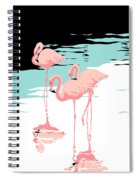 Pink Flamingos Tropical 1980s Abstract Pop Art Nouveau Graphic Art Retro Stylized Florida Print Spiral Notebook