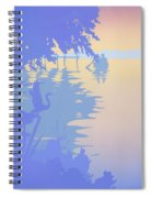 abstract tropical boat Dock Sunset large pop art nouveau retro 1980s florida landscape seascape Spiral Notebook