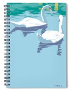 Abstract Swans Bird Lake Pop Art Nouveau Retro 80s 1980s Landscape Stylized Large Painting  Spiral Notebook