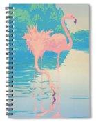 Square Format - Pink Flamingos Retro Pop Art Nouveau Tropical Bird 80s 1980s Florida Painting Print Spiral Notebook
