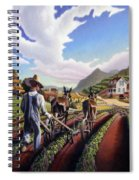 Appalachian Folk Art Summer Farmer Cultivating Peas Farm Farming Landscape Appalachia Americana Spiral Notebook