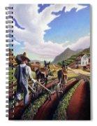 Appalachian Folk Art Summer Farmer Cultivating Peas Farm Farming Landscape Appalachia Americana Spiral Notebook