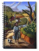 Boy And Dog Farm Landscape - Flashback - Childhood Memories - Americana - Painting - Walt Curlee Spiral Notebook