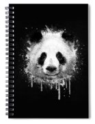 Cool Abstract Graffiti Watercolor Panda Portrait In Black And White  Spiral Notebook