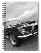 Shelby Gt500kr 1968 In Black And White Spiral Notebook