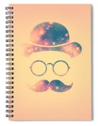 Retro Face With Moustache And Glasses  Universe  Galaxy Hipster In Gold Spiral Notebook