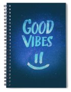 Good Vibes  Funny Smiley Statement Happy Face Blue Stars Edit Spiral Notebook