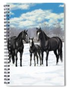 Black Horses In Winter Pasture Spiral Notebook