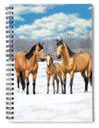 Buckskin Horses In Winter Pasture Spiral Notebook