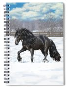 Black Friesian Horse In Snow Spiral Notebook