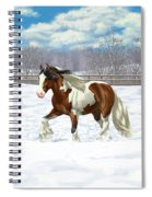 Bay Pinto Gypsy Vanner In Snow Spiral Notebook