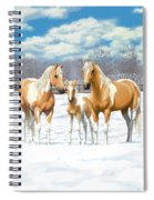 Palomino Paint Horses In Winter Pasture Spiral Notebook