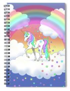 Rainbow Unicorn Clouds And Stars Spiral Notebook