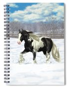 Black Pinto Gypsy Vanner In Snow Spiral Notebook