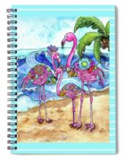 The Flamingo Family's Day At The Beach Spiral Notebook