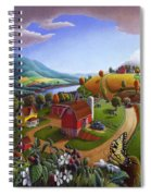 Folk Art Blackberry Patch Rural Country Farm Landscape Painting - Blackberries Rustic Americana Spiral Notebook