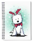 Kiniart Westie Reindeer Spiral Notebook