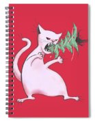 Funny White Cat Eats Christmas Tree Spiral Notebook