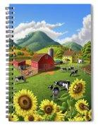 Sunflowers Cows Appalachian Farm Landscape - Rural Americana - Farm Animals - 1950 Farm Life - Barn Spiral Notebook