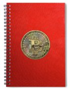 Gold Bitcoin Effigy Over Red Canvas Spiral Notebook