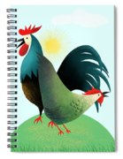Morning Glory Rooster And Hen Wake Up Call Spiral Notebook