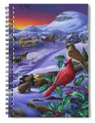 Christmas Sleigh Ride Winter Landscape Oil Painting - Cardinals Country Farm - Small Town Folk Art Spiral Notebook