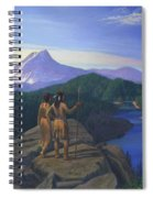 Native American Indian Maiden And Warrior Watching Bear Western Mountain Landscape Spiral Notebook