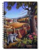 Rural Country Farm Life Landscape Folk Art Raccoon Squirrel Rustic Americana Scene  Spiral Notebook