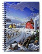 Folk Art Winter Landscape Spiral Notebook