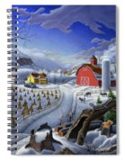 Folk Art Winter Landscape Spiral Notebook