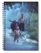Asian Boy Playing Water With Dad And Buffalo Spiral Notebook