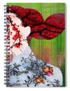 Asian Flower Woman Red Spiral Notebook