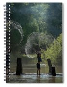Asian Girl Playing Water In River Spiral Notebook