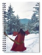 Asian Woman In Red Kimono Dancing On The Snow In The Forest Spiral Notebook