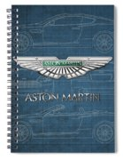 Aston Martin 3 D Badge Over Aston Martin D B 9 Blueprint Spiral Notebook