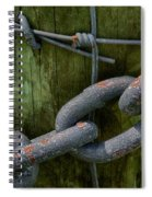 At The Fence Gate - Chain, Wire, And Post Spiral Notebook
