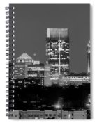 Atlanta Skyline At Night Downtown Midtown Black And White Bw Panorama Spiral Notebook