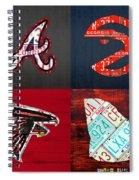 Atlanta Sports Fan Recycled Vintage Georgia License Plate Art Braves Hawks Falcons Plus State Map Spiral Notebook