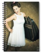 Attractive Young 1950s Woman Ready For Travel Tour Spiral Notebook