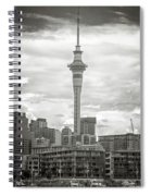 Auckland New Zealand Sky Tower Bw Texture Spiral Notebook