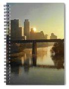 Austin Hike And Bike Trail - Pfluger Pedestrian Bridge - Fog Lifting Bright Panorama Spiral Notebook