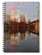 Austin Hike And Bike Trail - Train Trestle 1 Sunset Triptych Left Spiral Notebook