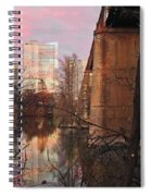 Austin Hike And Bike Trail - Train Trestle 1 Sunset Triptych Middle Spiral Notebook