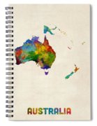 Australia Continent Watercolor Map Spiral Notebook