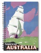 Australia Vintage Travel Poster Restored Spiral Notebook