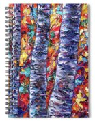 Autumn  Aspen Trees Contemporary Painting  Spiral Notebook
